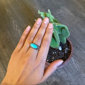Jewelry - .925 Silver ring with faux turquoise stone